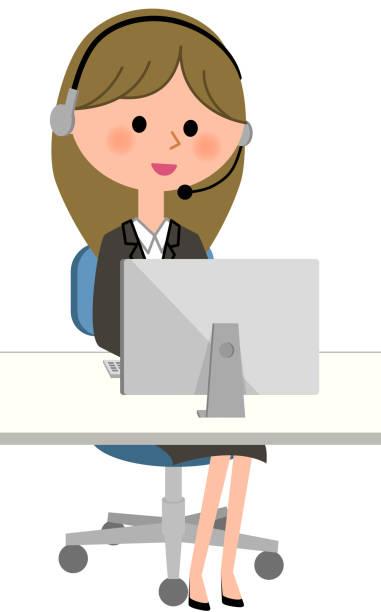 若い実業家、パソコン、ハンズフリー ヘッド セット - コールセンター点のイラスト素材/クリップアート素材/マンガ素材/アイコン素材