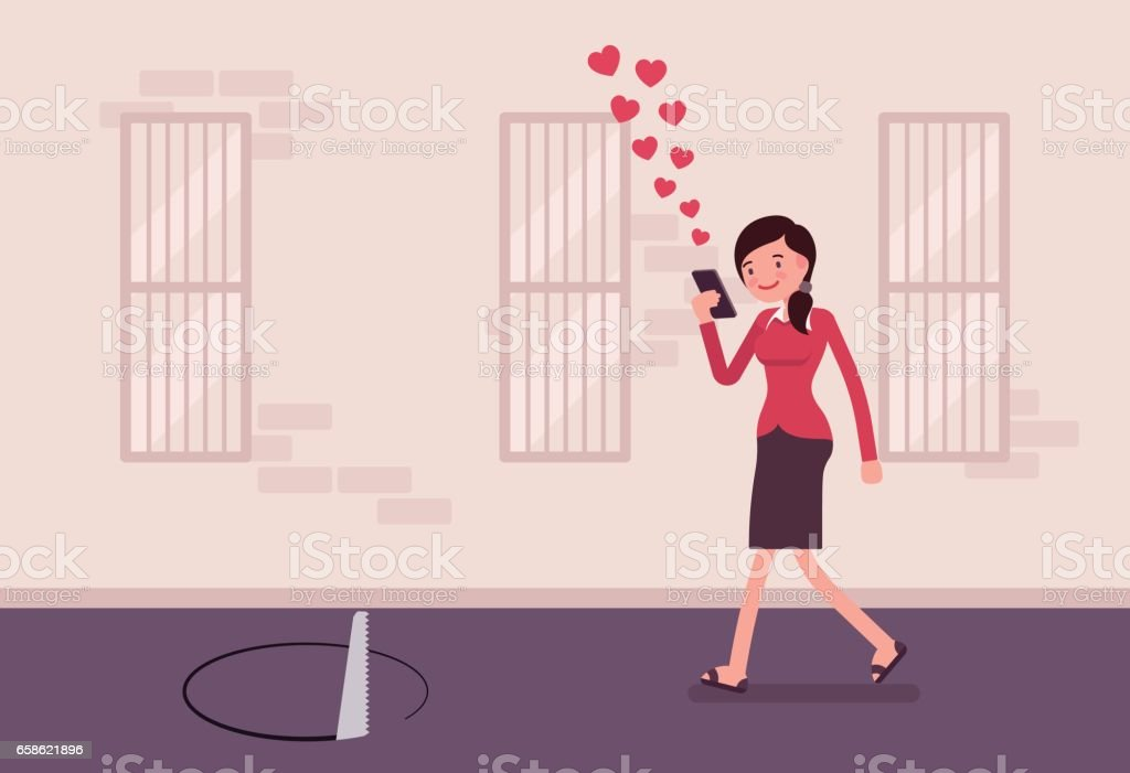 Young carefree woman walking with phone, sawing pit in front vector art illustration