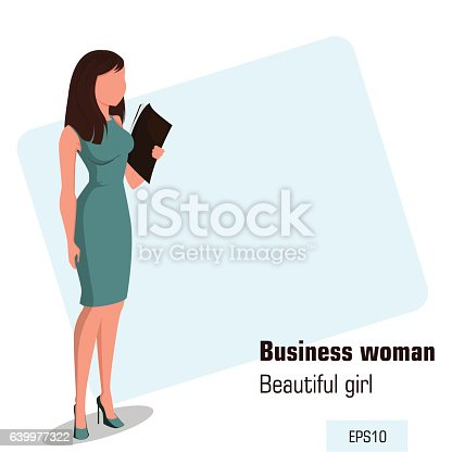 Young cartoon businesswoman in office dress holding document case. Beautiful girl preparing for meeting. Isometric business woman with 3D effect for infographic, design element. Faceless. Vector