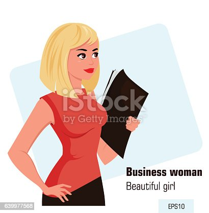 Young cartoon businesswoman in office dress holding document case. Beautiful blond girl preparing for meeting. Isometric business woman with 3D effect for infographic, design element. Vector