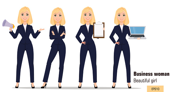Young cartoon businesswoman set. Beautiful blonde girl in office clothes standing, holding mouthpiece, showing checklist and holding laptop. Fashionable modern lady. Vector. EPS10