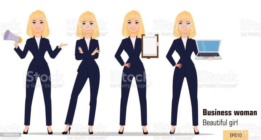 Young cartoon businesswoman set. Beautiful blonde girl in office clothes standing, holding mouthpiece, showing checklist and holding laptop. Fashionable modern lady. Vector. EPS10 vector art illustration