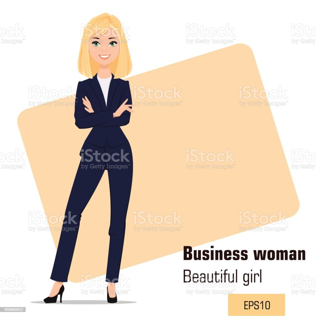 Young cartoon businesswoman standing  with crossed hands. Beautiful blonde girl in office clothes presenting business plan, startup. Fashionable modern lady. Vector illustration. EPS10 vector art illustration