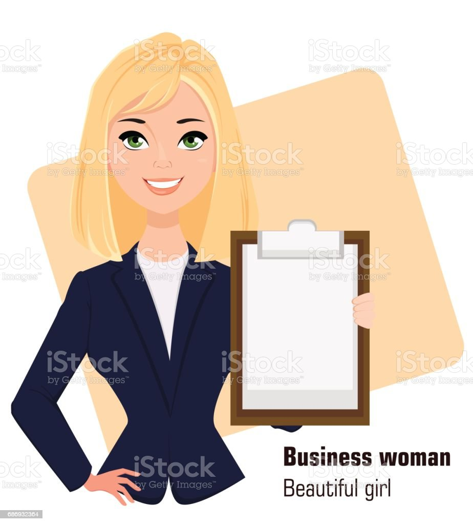 Young cartoon businesswoman wearing business style clothing. Fashionable blond modern lady. Beautiful girl holding clipboard. Vector illustration. EPS10 vector art illustration