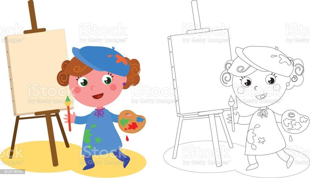 Genç Ressam Vektör Boyama Karikatür Stok Vektör Sanatı Animasyon