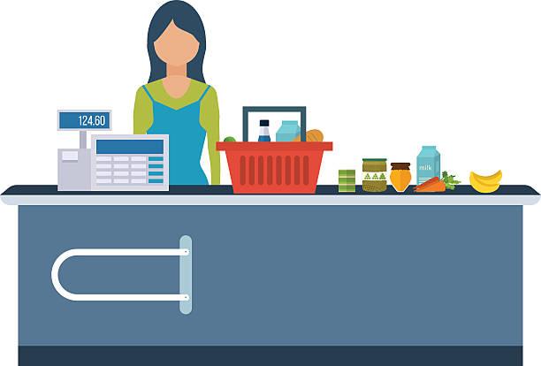 ilustrações de stock, clip art, desenhos animados e ícones de jovem mulher em pé de caixa no supermercado. - supermarket worker