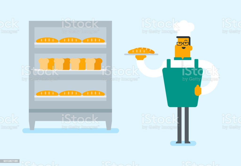 Young caucasian baker holding a tray with bread vector art illustration