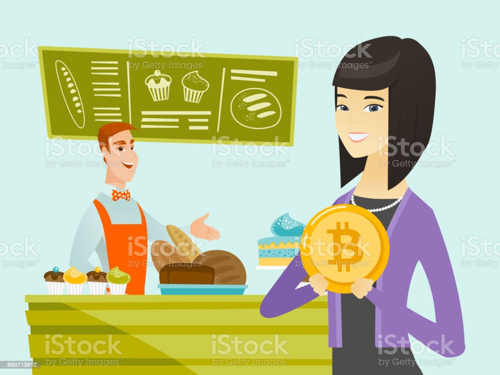 Young caucasian baker offering payment by bitcoin vector art illustration