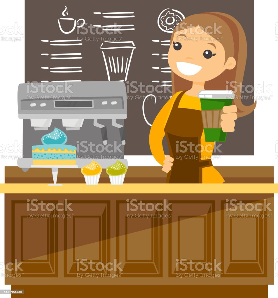 Young caucasian barista making a cup of coffee vector art illustration