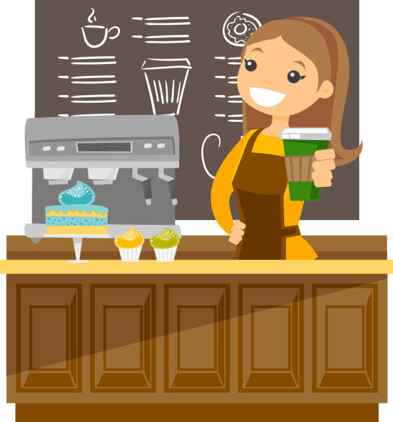 young caucasian barista making a cup of coffee - barista stock illustrations, clip art, cartoons, & icons