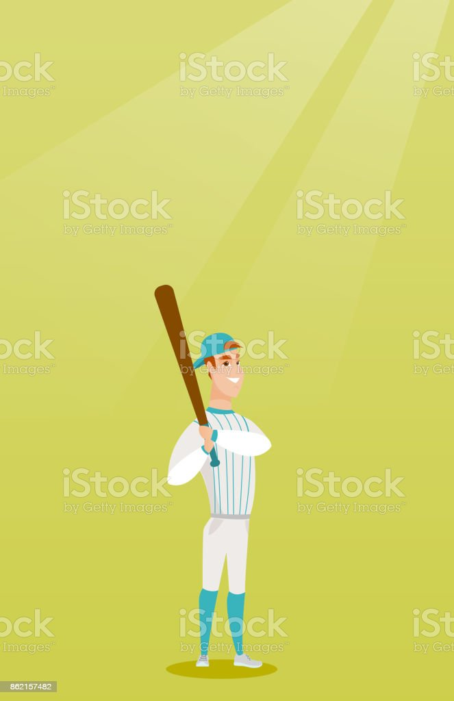 Young caucasian baseball player with a bat vector art illustration