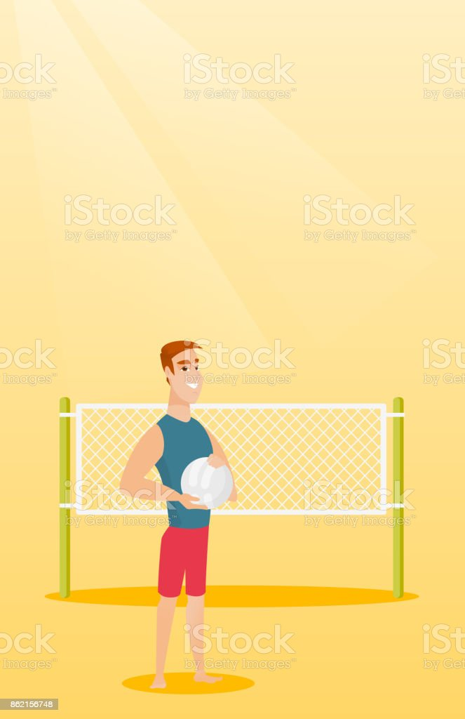 Young caucasian beach volleyball player vector art illustration