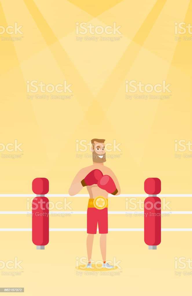 Young caucasian confident boxer in the ring vector art illustration