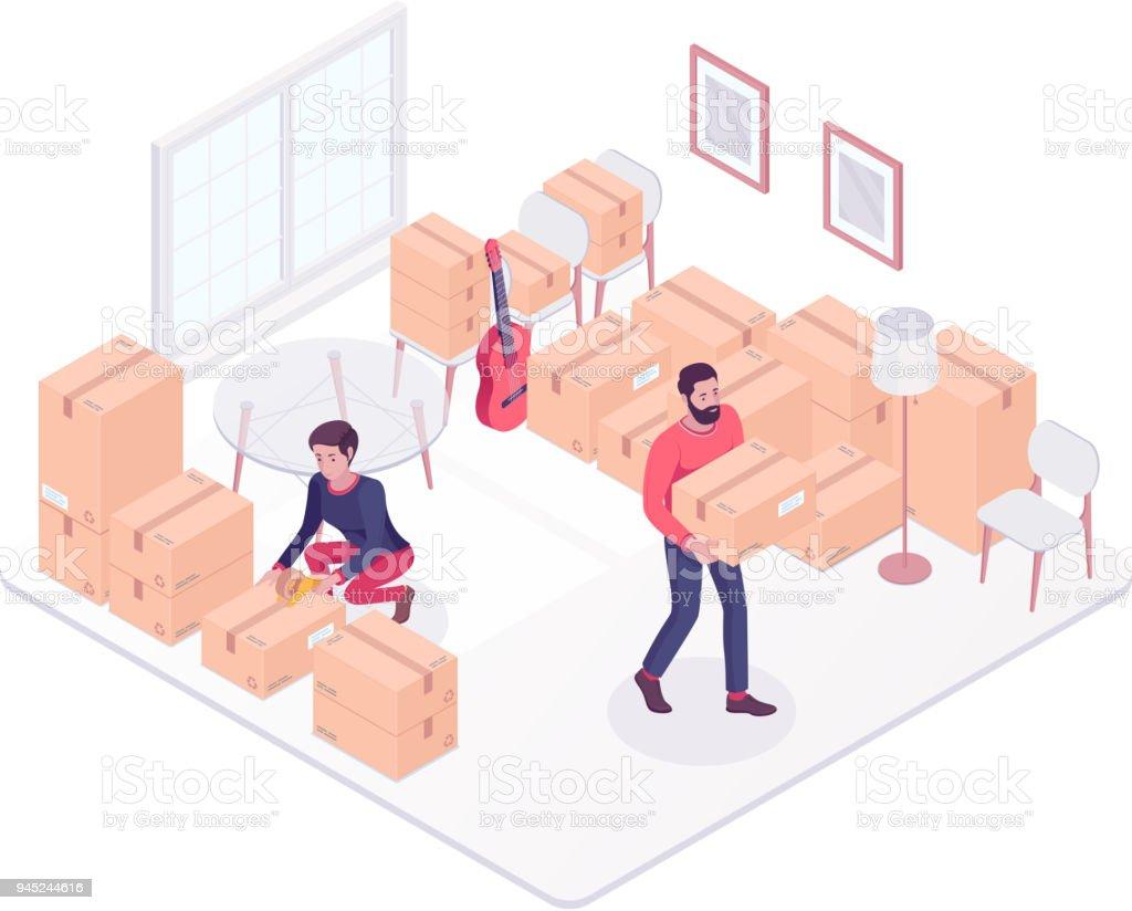 Jeune caucasien couple se déplaçant dans une nouvelle maison - Illustration vectorielle