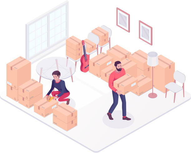 young caucasian couple moving to a new house - new home stock illustrations