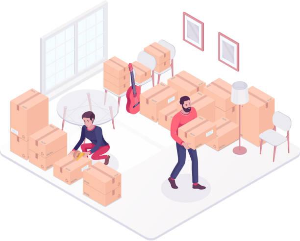 ilustrações, clipart, desenhos animados e ícones de jovem casal caucasiano, movendo-se para uma casa nova - casa nova