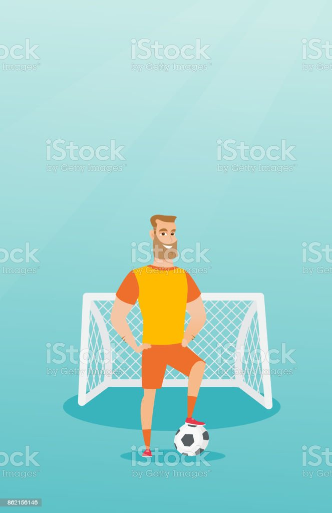 Young caucasian football player with a ball vector art illustration
