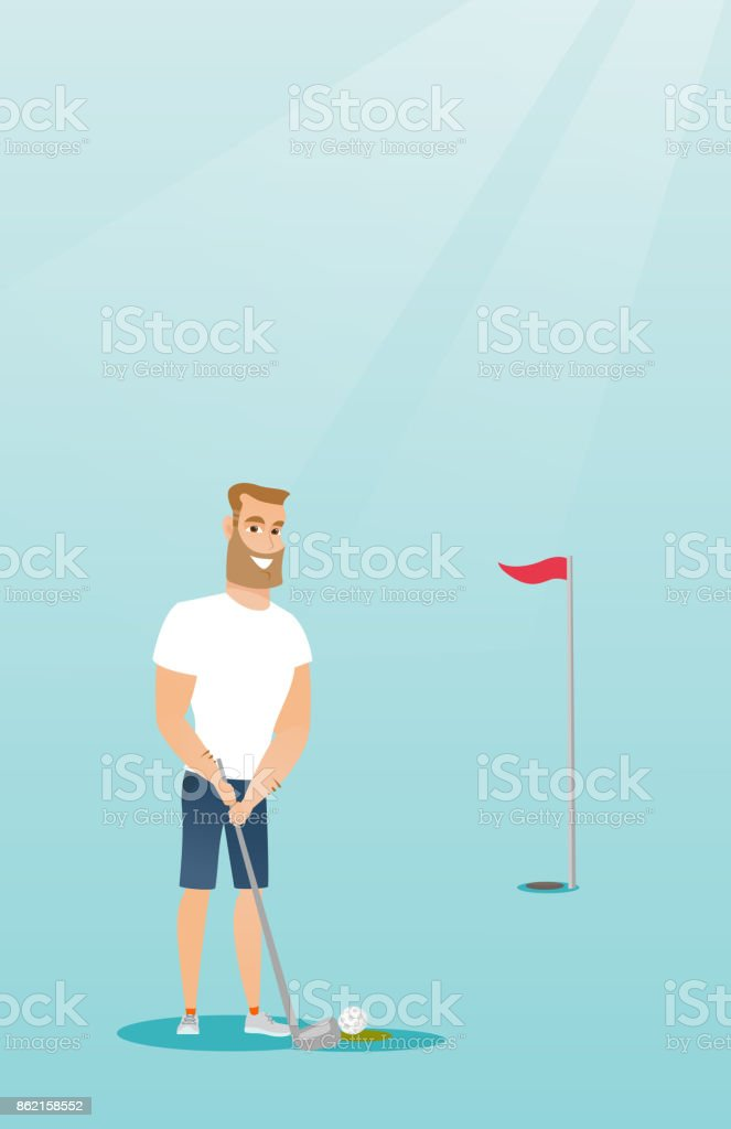 Young caucasian golfer hitting a ball vector art illustration