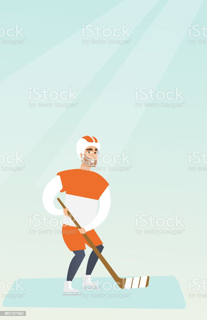 Young caucasian ice hockey player vector art illustration