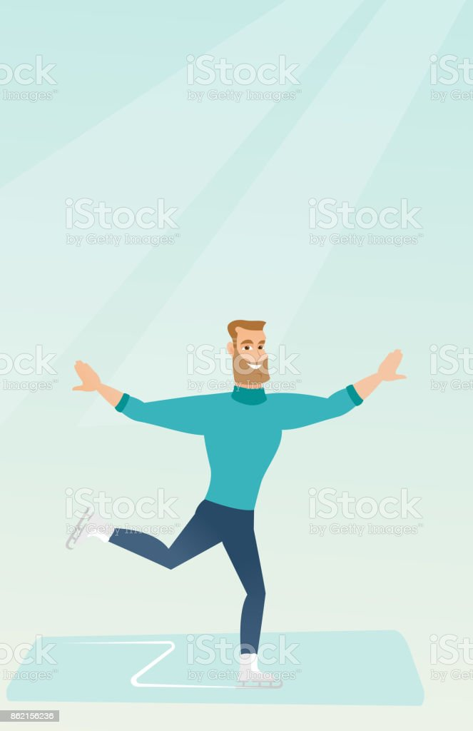 Young caucasian male figure skater vector art illustration