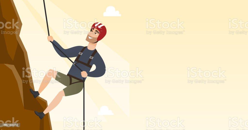 Young caucasian man climbing a mountain with rope - illustrazione arte vettoriale