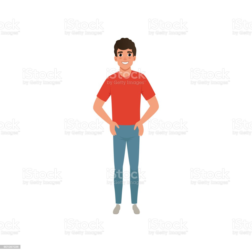 Young caucasian man dressed in red t-shirt and blue jeans. Cartoon male character standing with arms akimbo with smiling facial expression. Isolated flat vector design vector art illustration