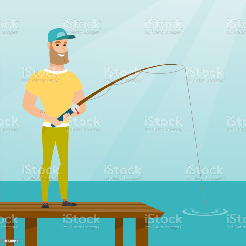 Young caucasian man fishing on jetty vector art illustration