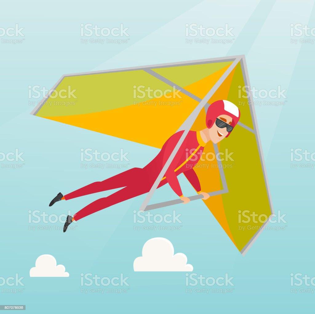 Young caucasian man flying on hang-glider vector art illustration