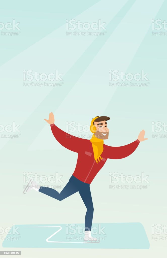 Young caucasian man ice skating vector art illustration
