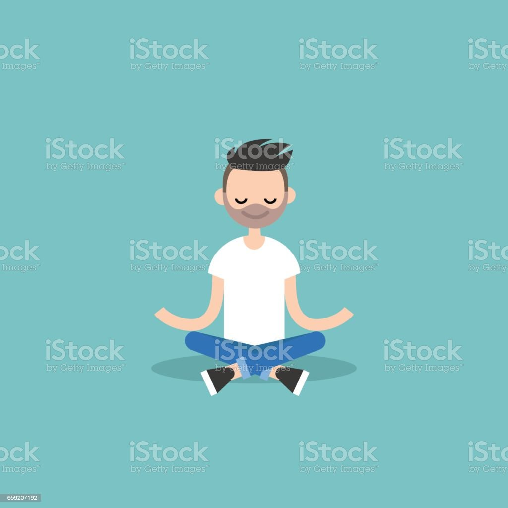 Young caucasian man meditating with closed eyes in lotus pose. Yoga and meditation / flat editable vector illustration, clip art vector art illustration