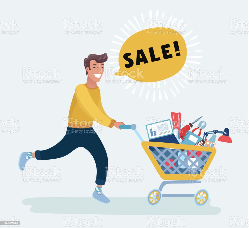 Young Caucasian Man Pushing An Empty Supermarket Trolley Man Shopping In The Supermarket With A Trolley Man Walking With A Trolley In The Supermarket Vector Flat Design Illustration Stock Illustration Download