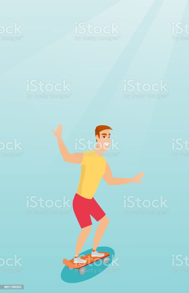 Young caucasian man riding skateboard vector art illustration
