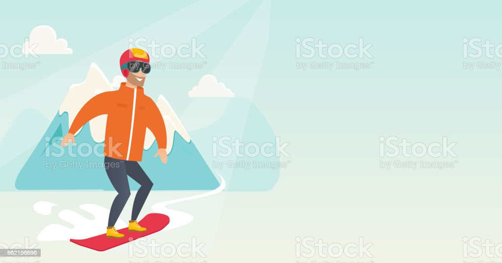Young caucasian man snowboarding vector art illustration