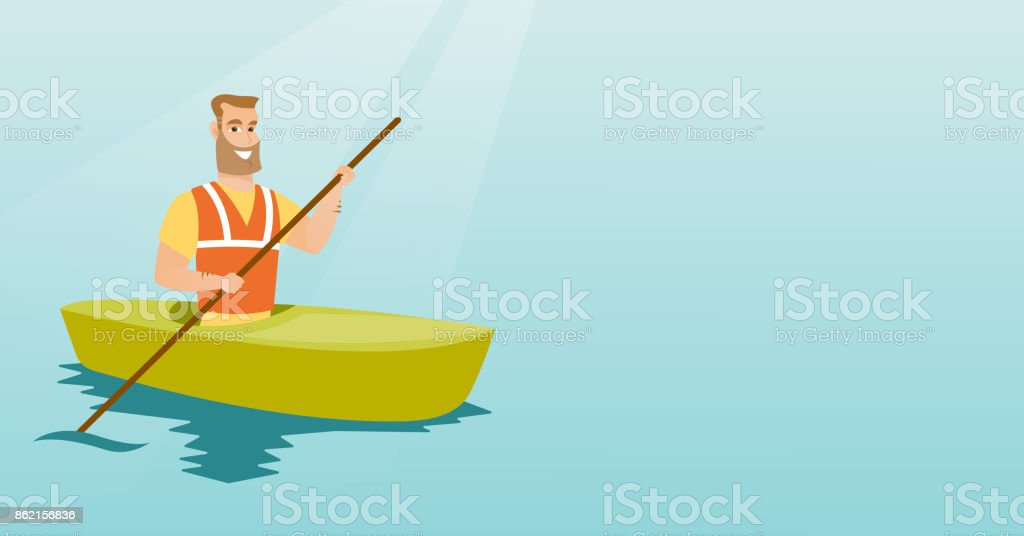 Young caucasian man travelling by kayak vector art illustration