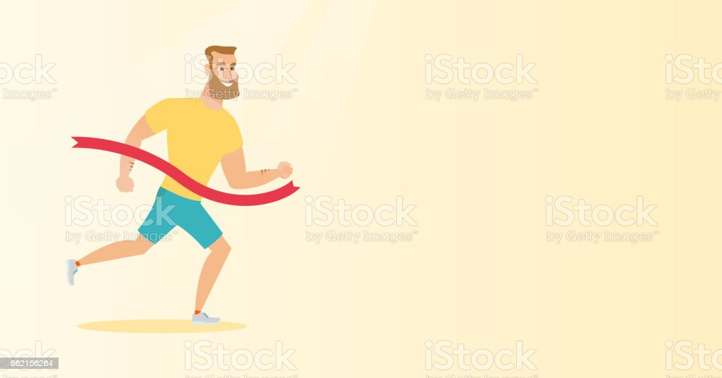 Young caucasian sportsman crossing finish line vector art illustration