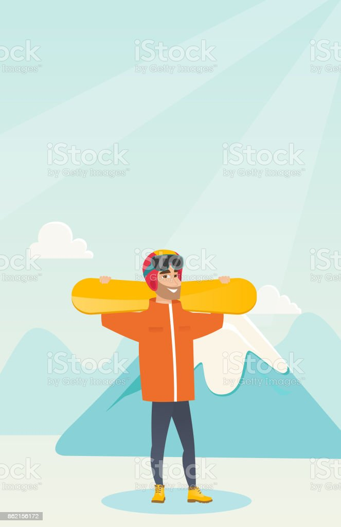 Young caucasian sportsman holding skis vector art illustration