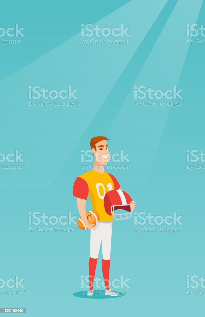 Young caucasian sportsman rugby player vector art illustration