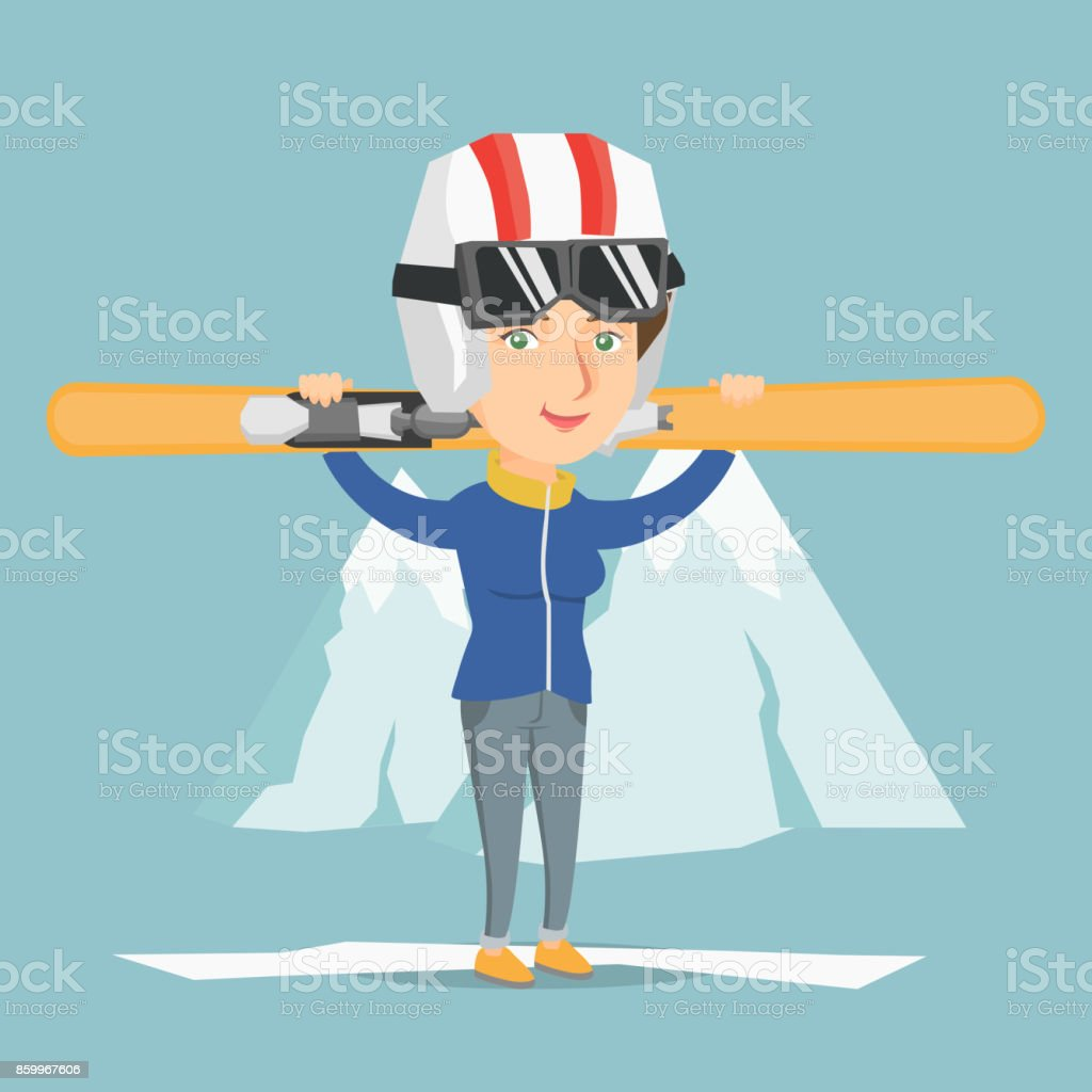 Young caucasian sportswoman holding skis vector art illustration