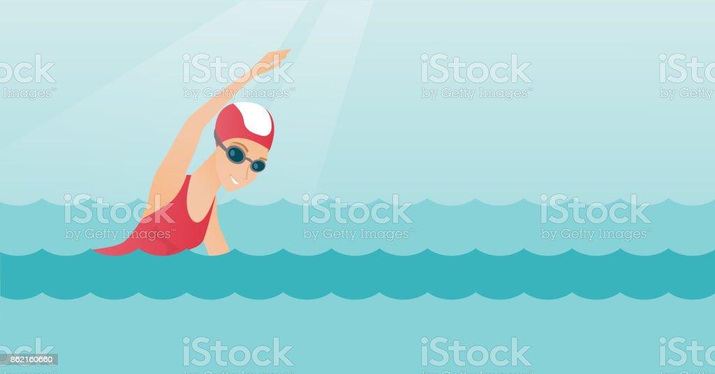 Young caucasian sportswoman swimming vector art illustration