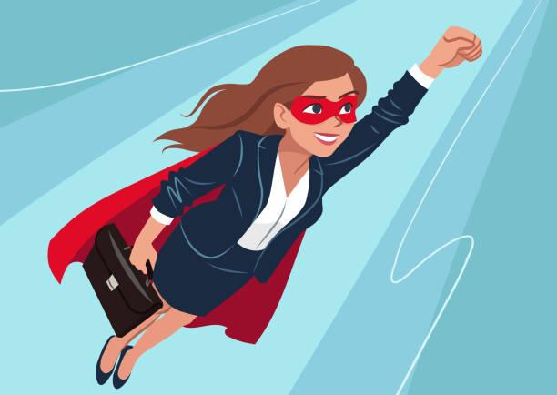 junge kaukasischen superhelden frau tragen business-anzug und cape, fliegen durch die luft in superhelden posieren auf aqua hintergrund. vektor-cartoon charakter illustration, business, erfolg, ziele thema. - superwoman stock-grafiken, -clipart, -cartoons und -symbole
