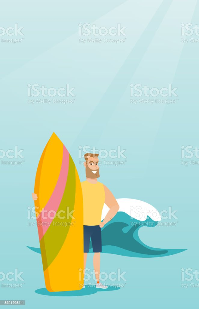 Young caucasian surfer holding a surfboard vector art illustration