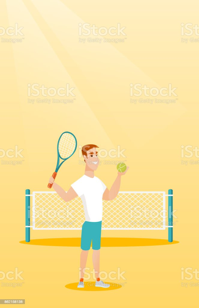 Young caucasian tennis player vector art illustration