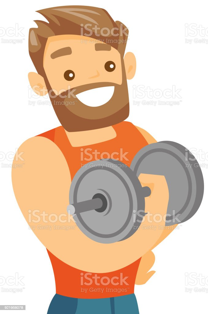Unga kaukasiska vit bodybuilder lyft hantel - Royaltyfri Aktiv livsstil vektorgrafik