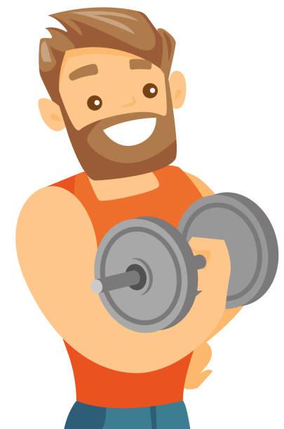 bildbanksillustrationer, clip art samt tecknat material och ikoner med unga kaukasiska vit bodybuilder lyft hantel - gym skratt