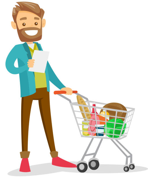 Young caucasian white man checking shopping list Young caucasian white man standing next to the shopping carrt with products and checking a shopping list in the grocery shop. Vector cartoon illustration isolated on white background. Square layout. shopping list stock illustrations