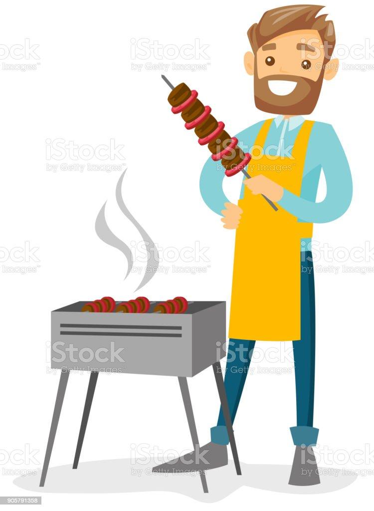 Young caucasian white man cooking shashlik vector art illustration