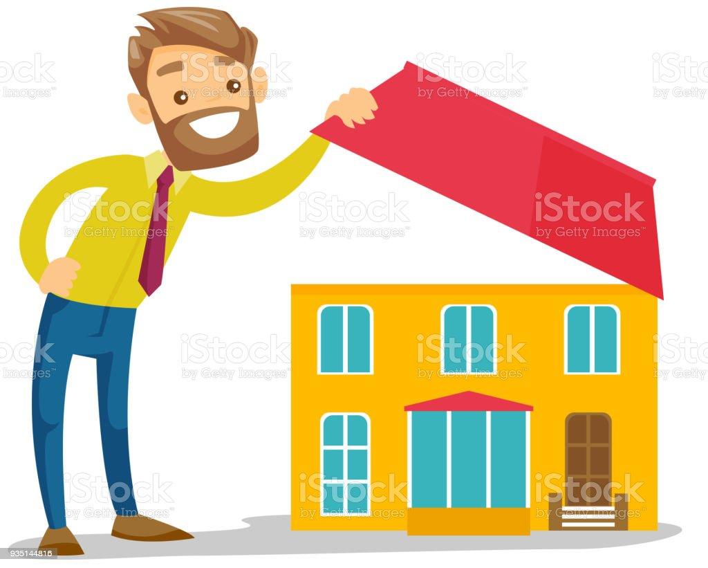 Jeune homme blanc caucasien à la recherche d'une maison neuve - Illustration vectorielle