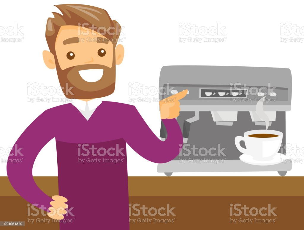 Caucásico joven blanco café - ilustración de arte vectorial