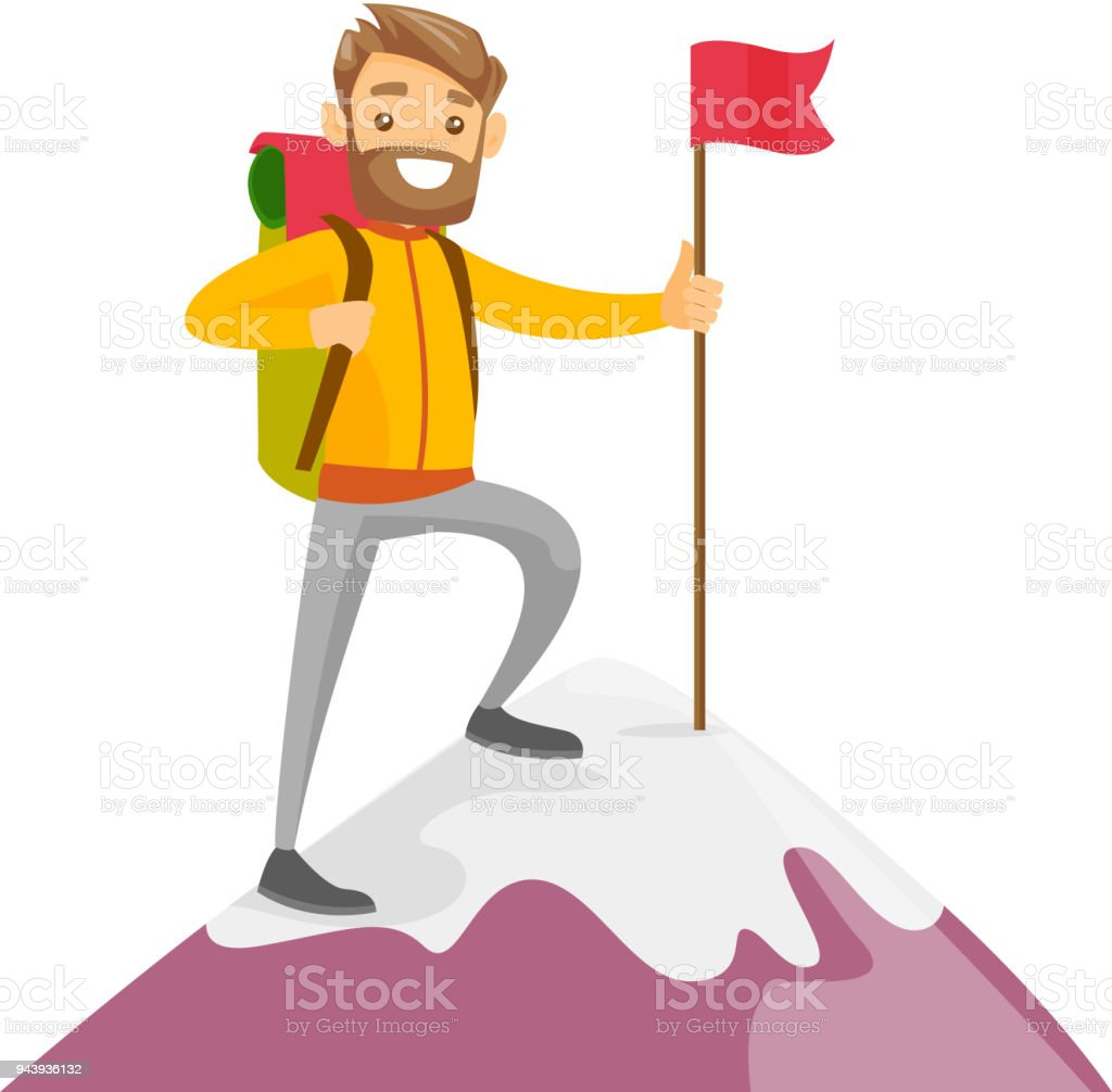 Young caucasian white man on the top of mountain vector art illustration