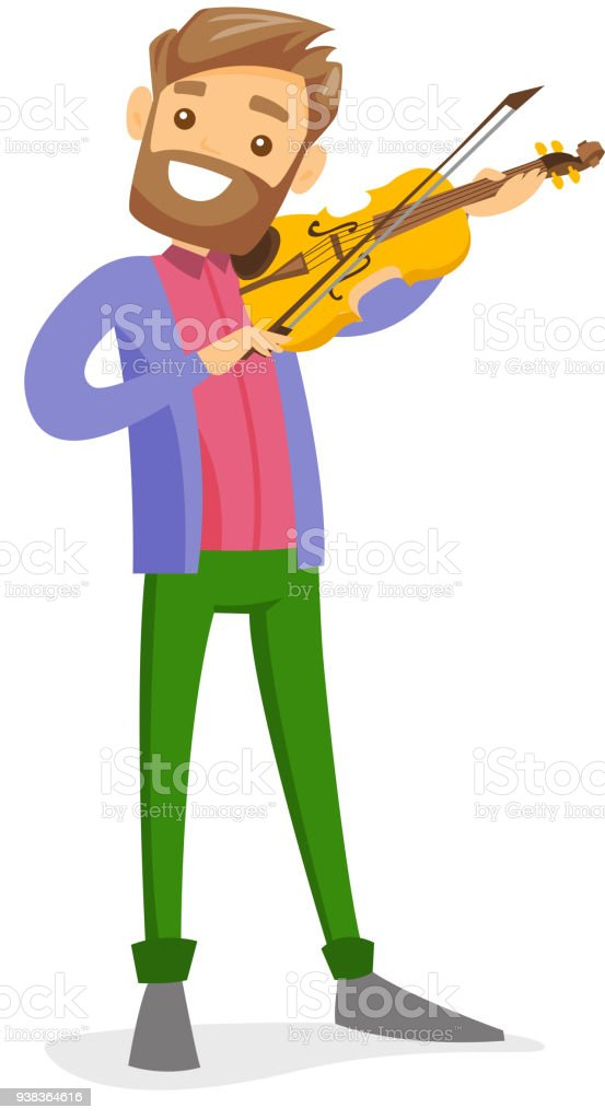 Young caucasian white man playing violin vector art illustration